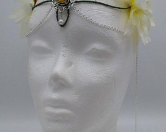 Elven Crown White and yellow fairy Headdress Fairy Crown Costume Headpiece Bridal Headdress Flower Crown Woodland diadem festival wedding