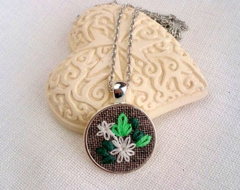 Flower necklace Embroidery floral jewelry Round pendant Birthday Gift for woman Green necklace Textile jewelry Silver embroidered necklace