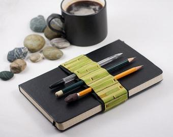 Journal Bandolier // bamboo // (a better pencil case, journal pen holder, book strap, pen loop, pencil roll, pen bandolier)