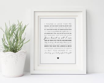 Digital Ed Sheeran 'Perfect' Song Lyrics, Typographic Song Lyric Print - Music Poster - Gift for Music Lover