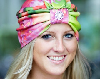 Turban Hat - Women's Organic Cotton Headwrap - Tropical Fuchsia Floral Print Hair Wrap - Wearable Art