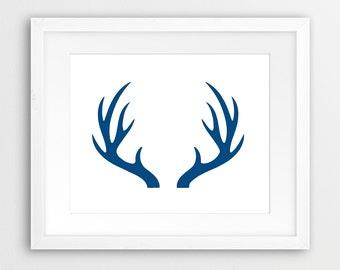 Navy Antler Print, Antler Decor, Deer Wall Art, Deer Antlers Navy Blue, Deer Print, Blue Art, Modern Wall Art, Nursery Decor, Printable Art