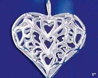 Heart with Hearts Pendant -- 25mm* x 25mm* (1 x 1 inches*) -- Sterling Silver