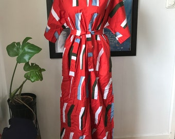 Vintage Marimekko Dress Maxi Dress Caftan / Size X Small  (fits Small - Medium - Large) / Red 1975 Finland