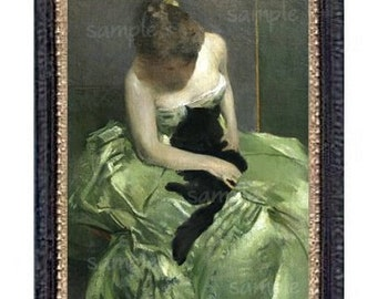 Victorian Lady In Green Miniature Dollhouse Art Picture 6773
