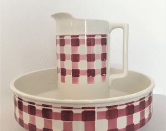 toilet porcelain pitcher and Bowl french vintage digoin sarreguemines pattern mid century gingham