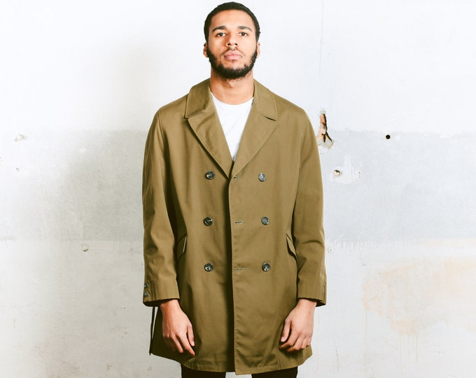 Fall Trench Coat . Men's 80s Vintage Belted Coat Brown Duster Coat Mens Lined Coat Long Autumn Jacket Mens Overcoat Outerwear . size Medium