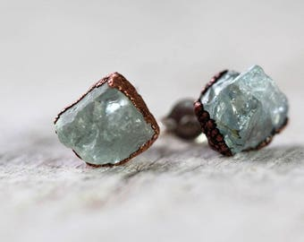 Aquamarine Post Earrings - Sterling Silver Earrings - Crystal Stud Earrings - March Birthday Gift - Copper Earrings