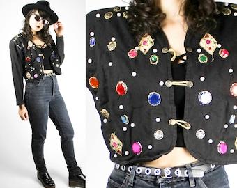 Vintage Black Jacket Cardigan With Pearls Beads Gems Gold Colorful Sweater Circus Blazer Gothic Punk Grunge Alternative Dark Style Festival