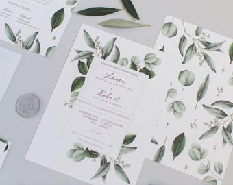 Greenery - Semi-custom Boho Botanical Wedding Invitation Suite