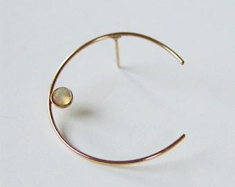 Crescent Moon Opal Earrings, Gold Stud Celestial Earrings