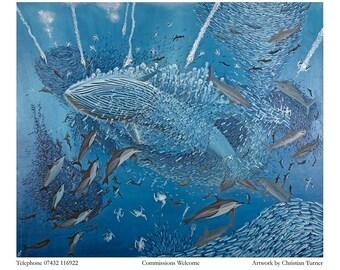 The Sardine Run - original oil painting on box canvas by Christian Turner