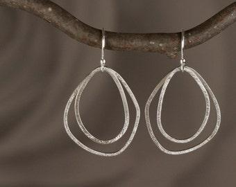 Sterling Silver, Double Pebble, Hoop Earrings - Modern Hoop Earrings in Sterling Silver - 00311 - by allotria