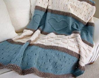 Knit Blanket Pattern, Knit Throw Pattern, Knit Heart Blanket - Seaside Blanket - Knitting Patterns by Deborah O'Leary