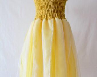 Gold Fairy Dress, Girl's Yellow Dress, Gold Party Dress, Girls's  Fairy Dress, Yellow Fairy Dress, Girl's Party Dress, Gold Costume Dress