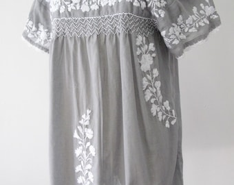 Mexican Embroidered Blouse Short Sleeve Cotton Top, Boho Blouse In Gray