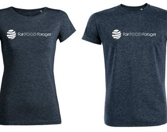 Women's 100% organic cotton, fair trade, fair food forager branded t-shirts. Beautiful feel.
