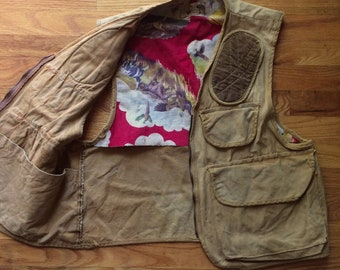 Vintage Penny's Foremost 1950's 1960's Hunting Vest w/ shell pockets, stock padding, Scovill zipper Small or Medium