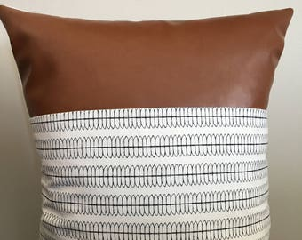 Modern faux leather/ patterned pillow cover