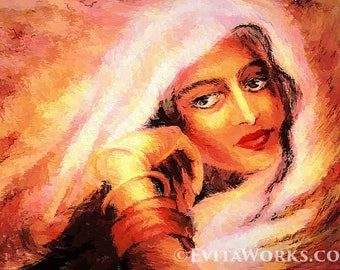 Indian woman painting, Bollywood dancer, Indian dance, feminine decor, beauty painting print 8x11+
