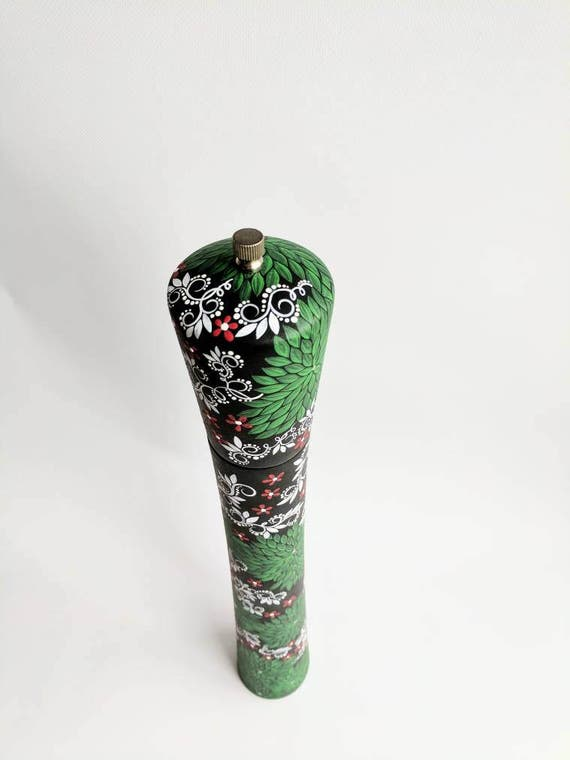 Pepper Mill: hand painted tall wooden pepper mill very tall woodland pepper mill leaves and flowers