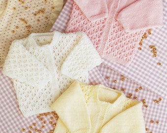 Baby Knitting Pattern pdf 3 Double Knit Lacy Cardigans 16-24""