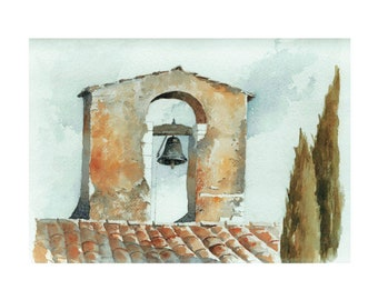 Bell Tower - Watercolor print