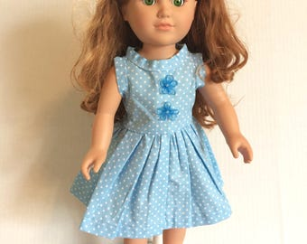 Blue doll dress with matching hair bow