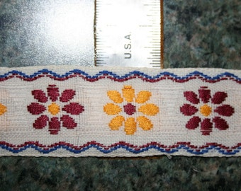 Vintage Ivory Trim with Burgundy and Gold Flowers
