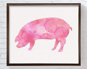 Pig Art Print, Watercolor Pig, Pig Painting, Nursery Wall Decor, Kids Room Decor, Farm Animals, Farmhouse Decor, Childrens Room, Pig Poster