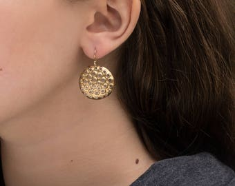 22k Gold, Perforated Dangle Earrings, Round 1 inch, With Solid 18k Hooks