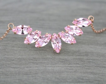 Rose gold necklace, Bridal necklace, Bridal jewelry, Swarovski necklace, Crystal necklace, Wedding necklace, Blush crystal necklace