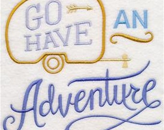 Adventure Embroidered Towel | Embroidered Kitchen Towel | Flour Sack Towel | Embroidered Tea Towel | Dish Towel |Hand Towel