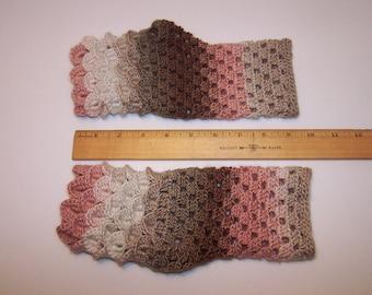 Medium pair dragon gloves fingerless mitts in acrylic-wool blend pink white brown gauntlets
