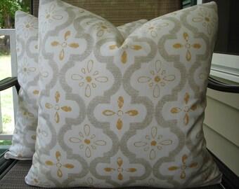 Geometric Pillow Covers One Pair 18 x 18 Handmade Yellow Grey Off White Pillows Home Decor Decorative Throw Pillows Cotton Pillows Cushions