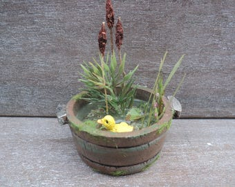 "Dollhouse miniature wooden tub pond in 1"" or 1:12 scale"