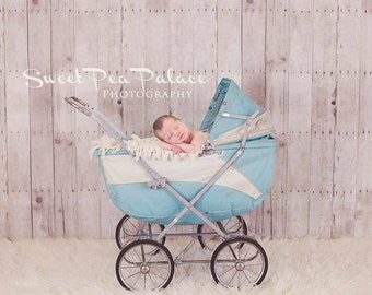 Instant Download Newborn Baby Child Photography Prop Digital Backdrop for Photographers Vintage Blue Carriage
