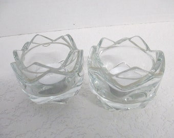 Vintage Stackable crystal Glass votive candle holders set of 2  for tea lights included used