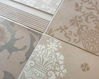 Pack of (4) -  Taupe/Cream Floral Vintage Wallpaper Pack, 11x14 size