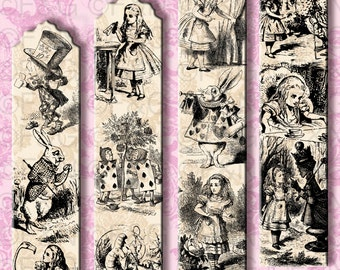 Alice in Wonderland Bookmarks -  24 Bookmarks inspired by Alice ready to print and cut - Pack 2