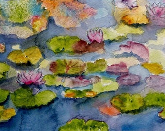 watercolor a Symphony of water lilies