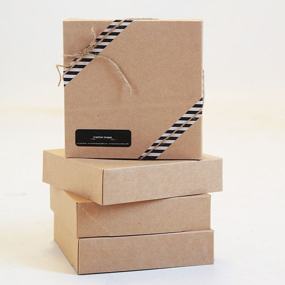 Set of 15-  Size 10.5  x  10.5 x 2.5  Kraft  Gift Boxes - 2pc lid and base