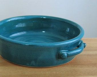 Brie Baker, Pottery Casserole Dish, Ceramic Cheese Server in Peacock Blue / Green, Wheel Thrown Stoneware , Handmade Gourmet Gift, Chef Gift