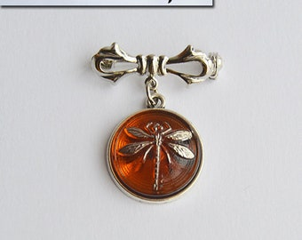 Dragonfly in Amber (Czech glass) Silver Brooch - Claire Fraser Sassenach Jewelry - Outlander inspired