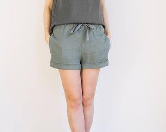 Womens sleepwear /Linen pajamas / Linen nightwear / Linen blouse / Linen shorts