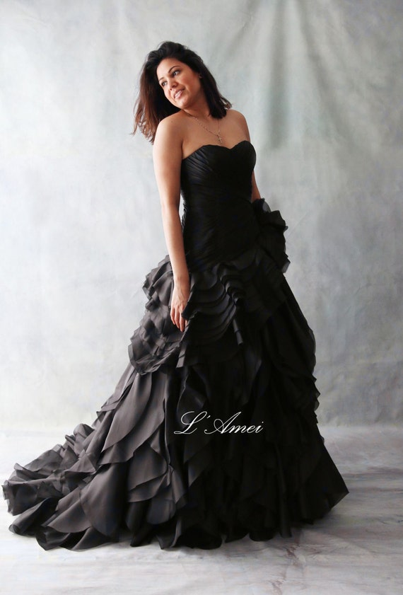 Black gothic style black wedding bridal dress ball gown like this item junglespirit Images