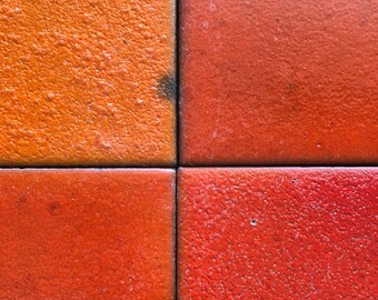 Rare Franciscan tile 6x6 red/orange glazed ceramic