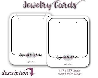 Cartes de boucle d'oreille, bijoux carte, carte personnalisée, étiquettes, afficher des cartes, étiquettes de collier, collier, boucle d'oreille affichage