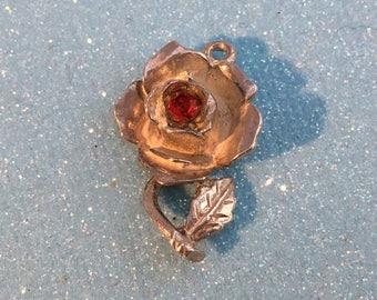 Rose Flower Charm - Nuvo, Red Gem Set Vintage, Sterling Silver Bracelet Charm or Pendant.