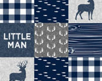 Little Man Buck Patchwork Print Bumper Pads (navy or black)